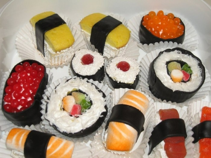 muffins-dekorieren-ideen-sushi-deko-lustige-muffin-deko