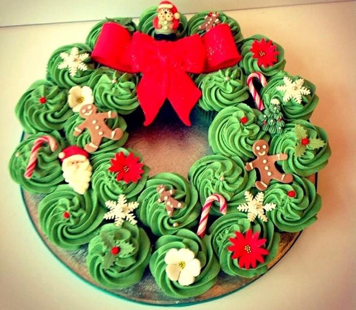 muffins-dekorieren-weihnachten-muffins-verzieren-kranz