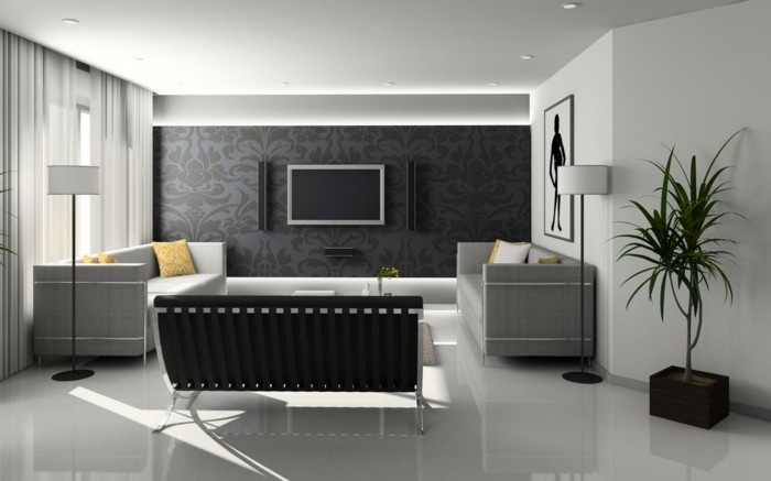 Awesome Tv Wand Modern Galleries - Moderne Vintage ...