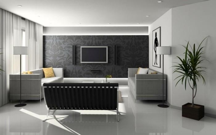 tv wand selber bauen - 80 kreative vorschläge! - archzine.net - Schiefer Wand Wohnzimmer