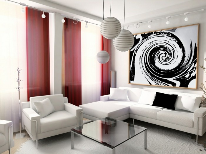 wohnzimmer-einrichten-schwarz-weiß-und-rot-klassische-farben-im-wohnzimmer