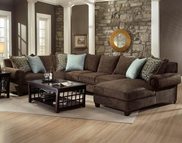 ein wohnzimmer in braun wirkt einladend und wohnlich. Black Bedroom Furniture Sets. Home Design Ideas