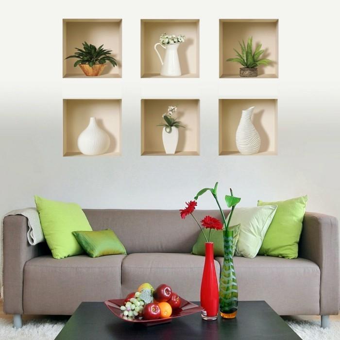 1dekotippswohnzimmer-blumen-auf-dem-kaffeetisch-pluschteppich-obst-grune-kissen