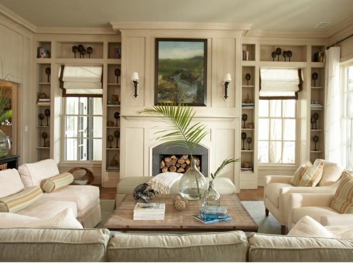 wanddeko wohnzimmer - dekorative wandnischen - archzine.net - Wohnzimmer Cremeweis