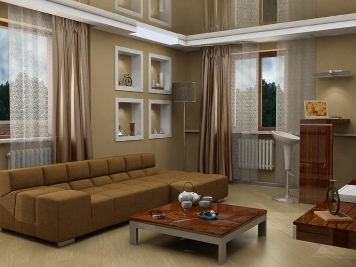 1wanddekowohnzimmer-moderne-couch-langen-gardinen-beige-und-braun