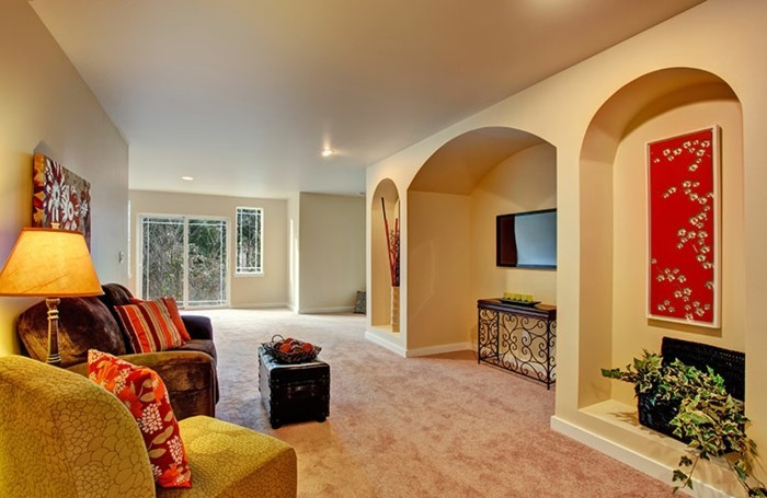 Wanddeko wohnzimmer dekorative wandnischen - Wanddeko streifen ...