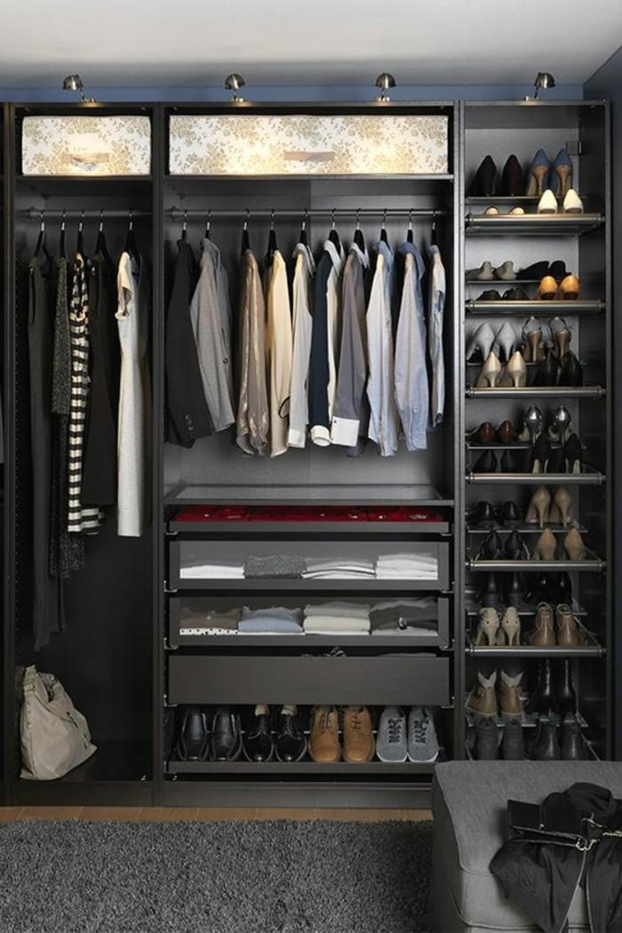 4-ankleidezimmer-einrichten-schwarzer-begehbarer-kleiderschrank-schuhe-hemde