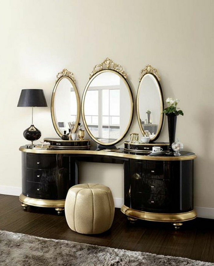 9-schminktisch-schwarz-runder-spiegel-mit-goldenem-rahmen-beige-hocker