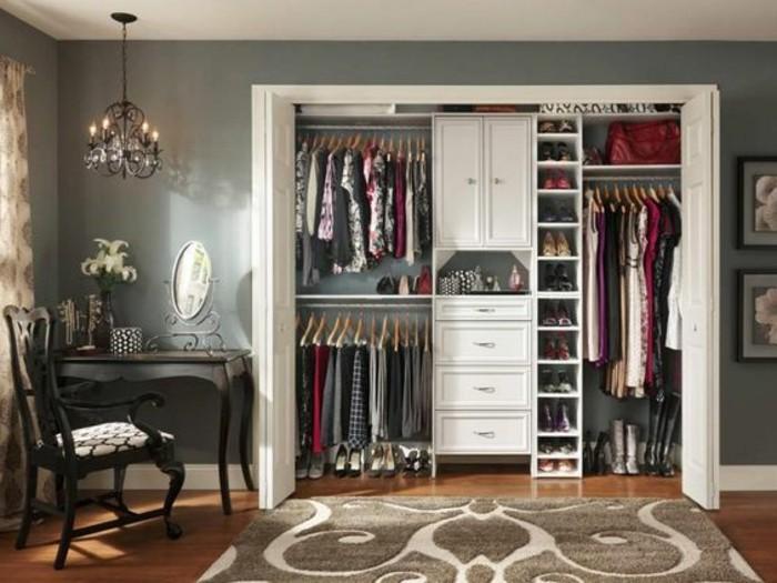 ankleidezimmer-einrichten-begehbarer-kleiderschrank-kleider-brauner-teppich
