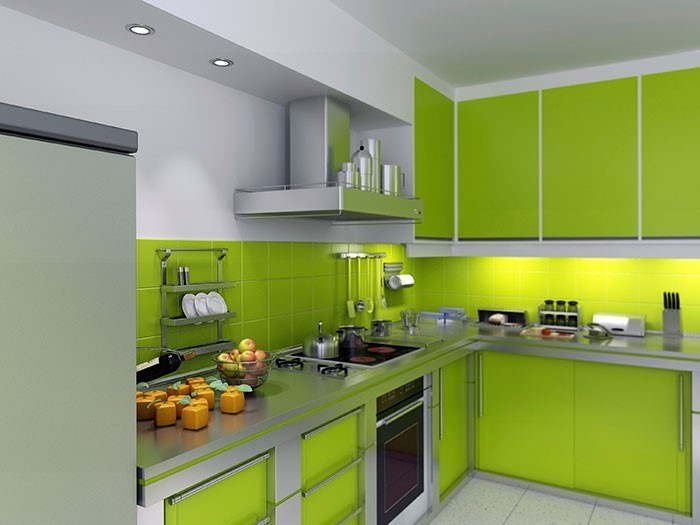 Küchen günstig in grün eine auffällige еinrichtung