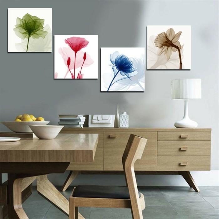 asymetrische-collage-kuche-holz-bucher-lampe-blumen