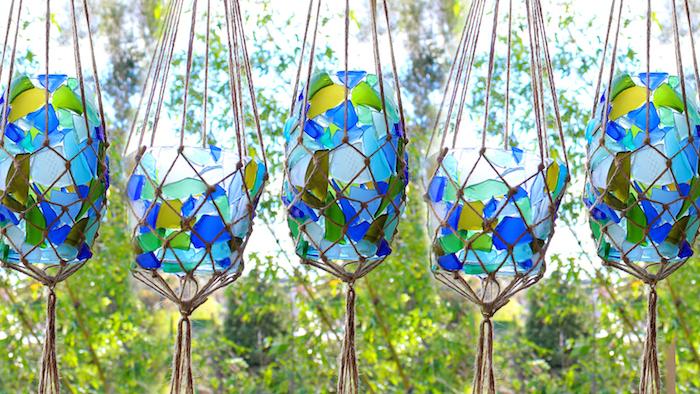 basteln mit gläsern makramee garn teelichter aus glas in grün und blau streichen