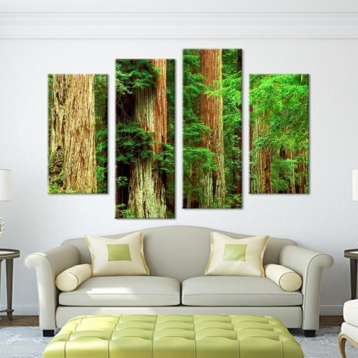 baum-wald-bild-leinwand-collage-wohnzimmer-gruner-hocker