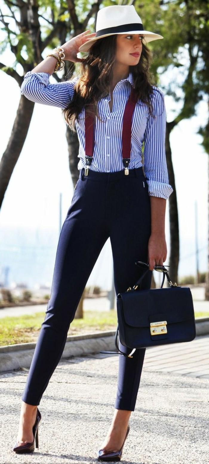 business-kleider-gestreiftes-hemd-elegante-blaue-hose-braue-tasche-weinrote-schuhe-weises-hut