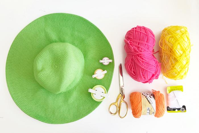 Kaktus Sommerhut selber machen, Materialien dazu, grüner Sommerhut. buntes Garn, Schere und Pom Pom Maker