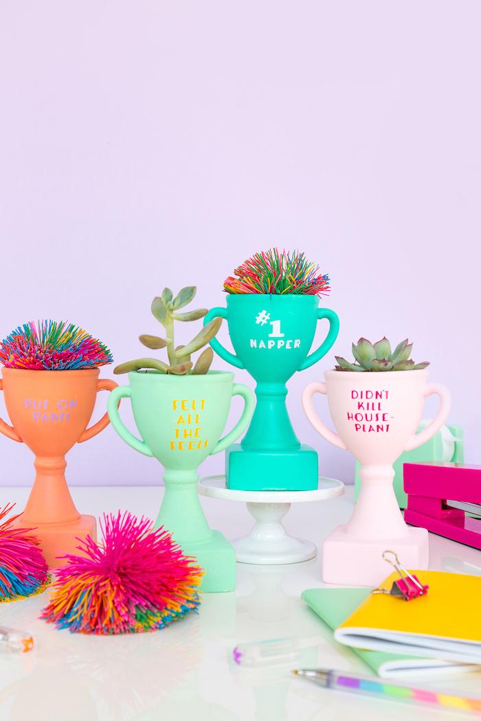 Kleine bunte Blumentöpfe in Form von Pokalen, mit lustigen Aufschriften, DIY Geschenkidee
