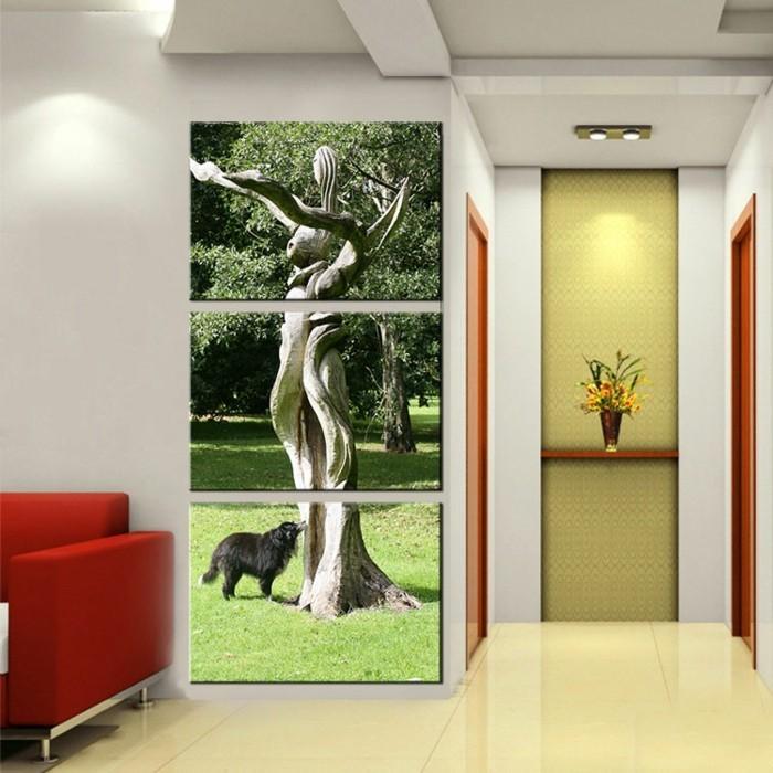 fotocollage-auf-leinwand-furs-wohnzimmer-roter-akzent-hund-im-park-neben-baum