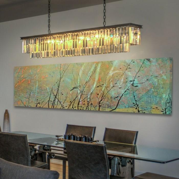 fotoleinwande-leinwandbedrucken-esszimmer-deko-glastisch-lederstuhl