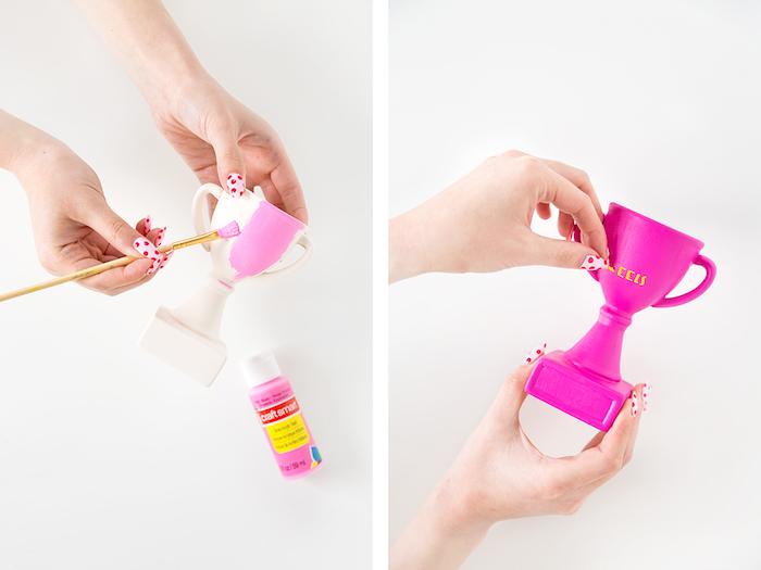 Kreative Idee für DIY Geschenk, kleinen Pokal violett bemalen, Aufschrift kleben