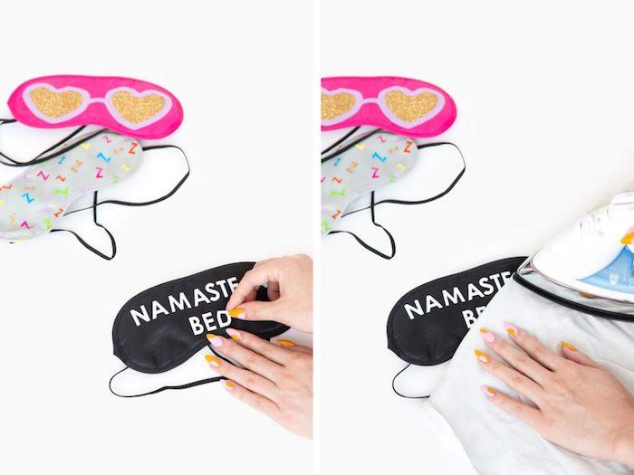 Kreative Geschenkideen für jeden Geschmack, Schlafmaske selber bedrucken, mit Bügeleisen fixieren