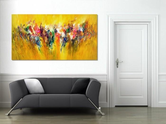 Gelbes Akzent Abstrakte Malerei Grau Weises Zimmer