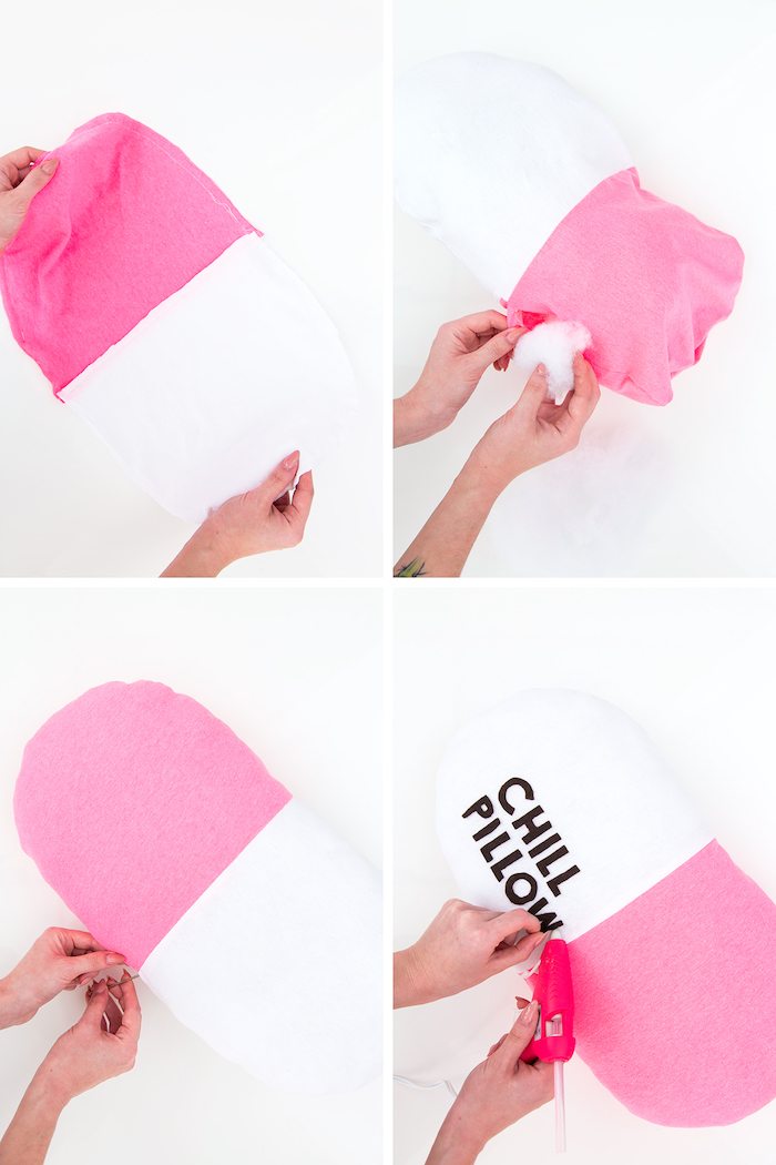 Chill Pill Kissen selber nähen, Anleitung in vier Schritten, mit Watte füllen, Aufschrift mit Heißkleber darauf kleben
