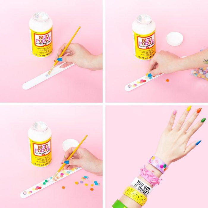 Bunte Armbänder selber machen, DIY Anleitung in vier Schritten, bunte Kreise kleben