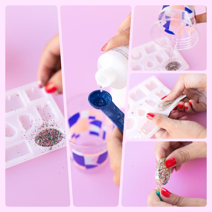 Ohrringe aus Kleber und Glitter selber machen, mithilfe Silikonform, DIY Anleitung in fünf Schritten