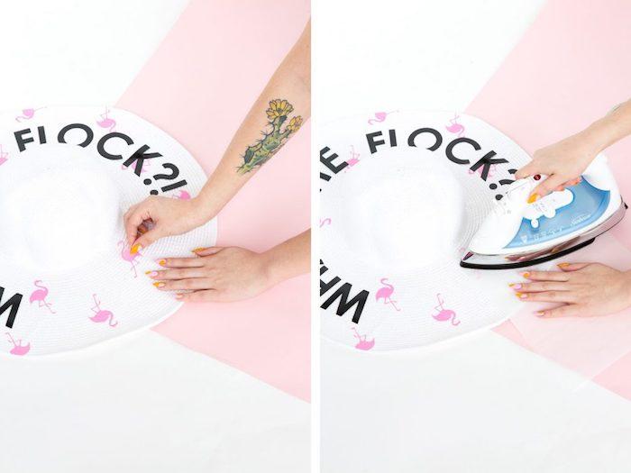 Weißen Sommerhut selbst bedrucken, die Motive mit Bügeleisen fixieren, lustige Aufschrift und kleine Flamingos
