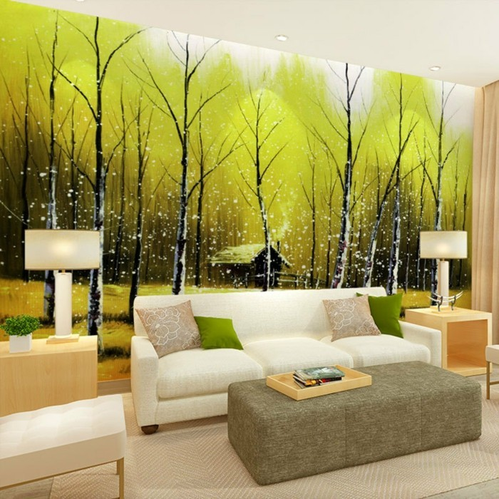 grune-landschaft-xxl-baume-haus-sofa-weis-holz-grauer-tisch-2-lampen-teppich