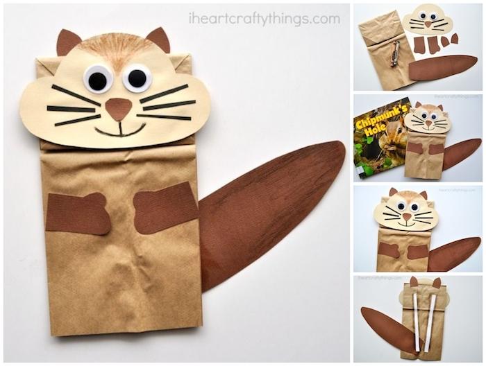 kinder bastelideen originell eichhörnchen basteln aus papirtbeutel kreative sachen basteln upcycling ideen diy anleitung schritt für schritt