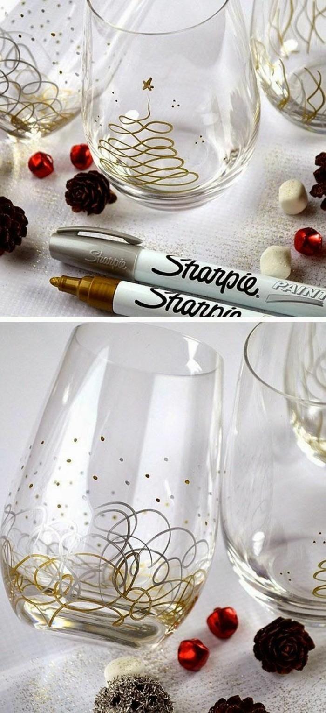 kreative-geschenkideen-geburtstagsgeschenke-selber-machen-interessante-originelle-glaser-mit-gold-und-silber-schmucken