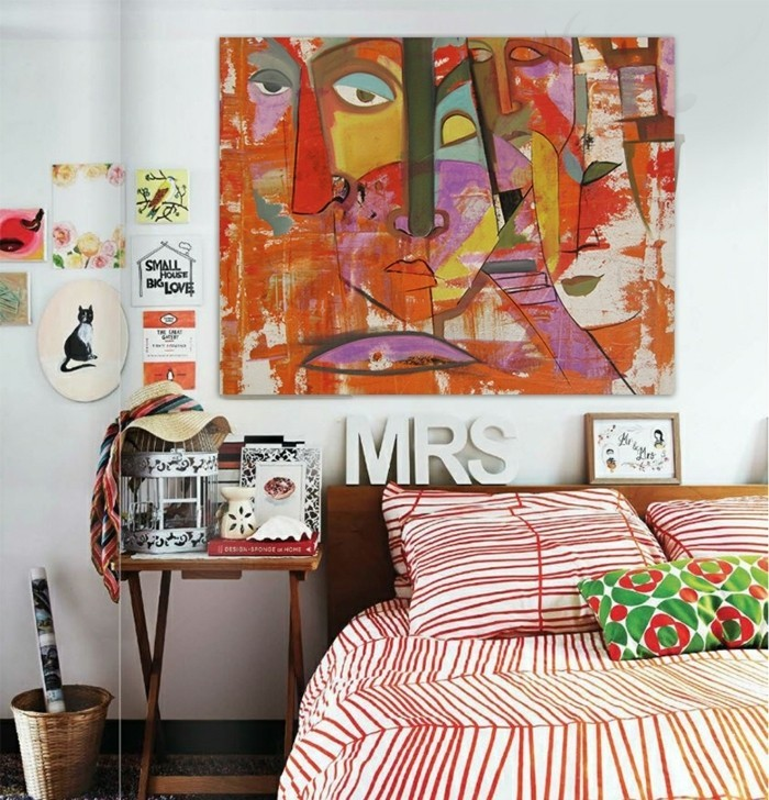leinwandbedrucken-kunst-collage-holzbett-doppelbett-schlafzimmer-rot-weise-laken