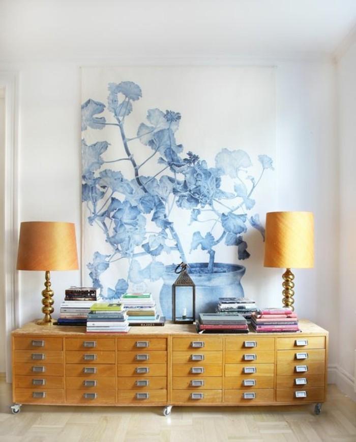 leinwandbild-blau-weis-kabinett-holzschrank-bucher-nachtlampen