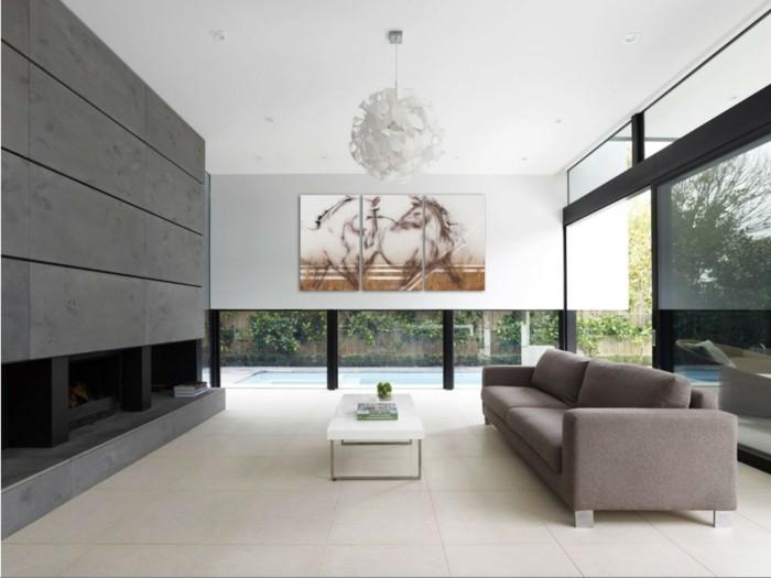 Erstaunlich Leinwandbild Pferde Luxurioses Wohnzimmer  Feuerstelle Glaswande Simpeleingerichtet
