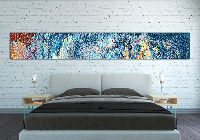 leinwandbilder-xxl-schlafzimmer-doppelbett-nachttischausholz-holzboden-steinwand