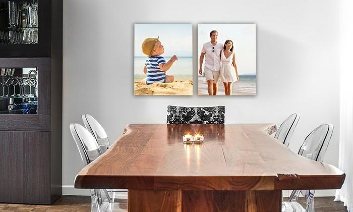 leinwanddruck-fotocollage-familie-baby-holztisch-kerzen-esszimmer