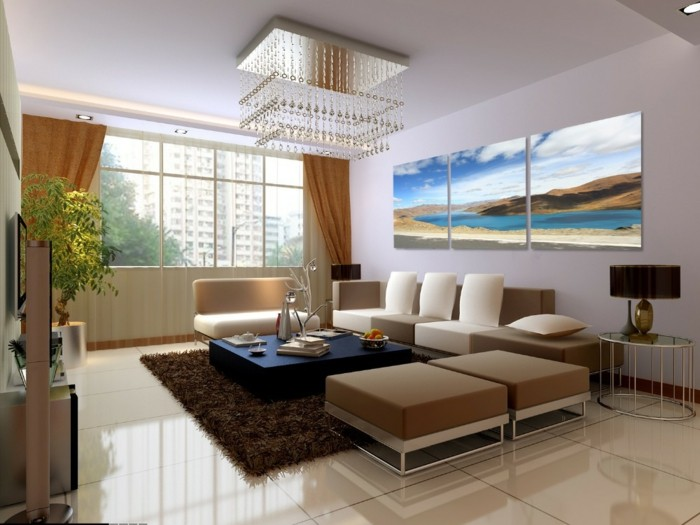 luxurioses-wohnzimmer-leinwandbedrucken-pluschteppich-lampe-gardine-fenster-pflanze-beige