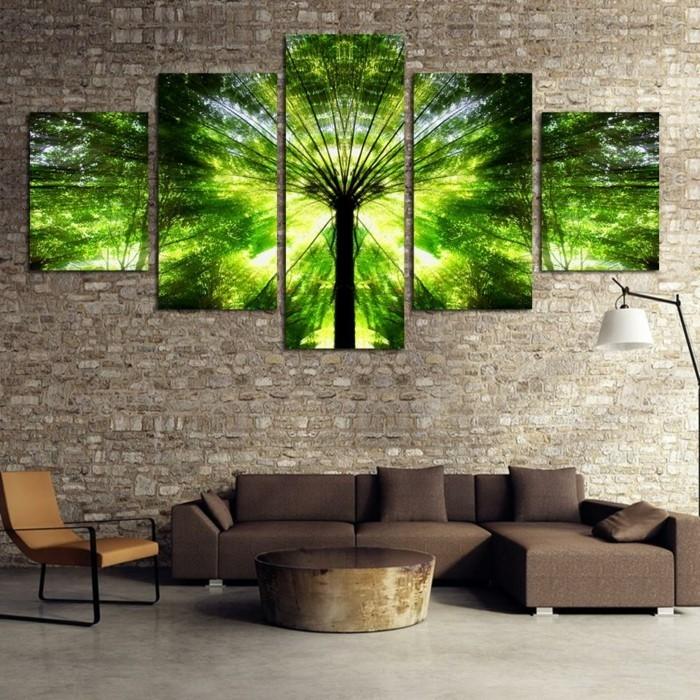 moderne-dekoration-wohnzimmer-braun-stein-ecksofa-stuhl-lampe