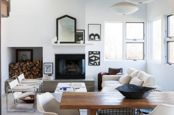platzsparen-schone-wanddekorationen-wohnzimmer-spigel-holztisch-kaffeetisch-plastikstuhle
