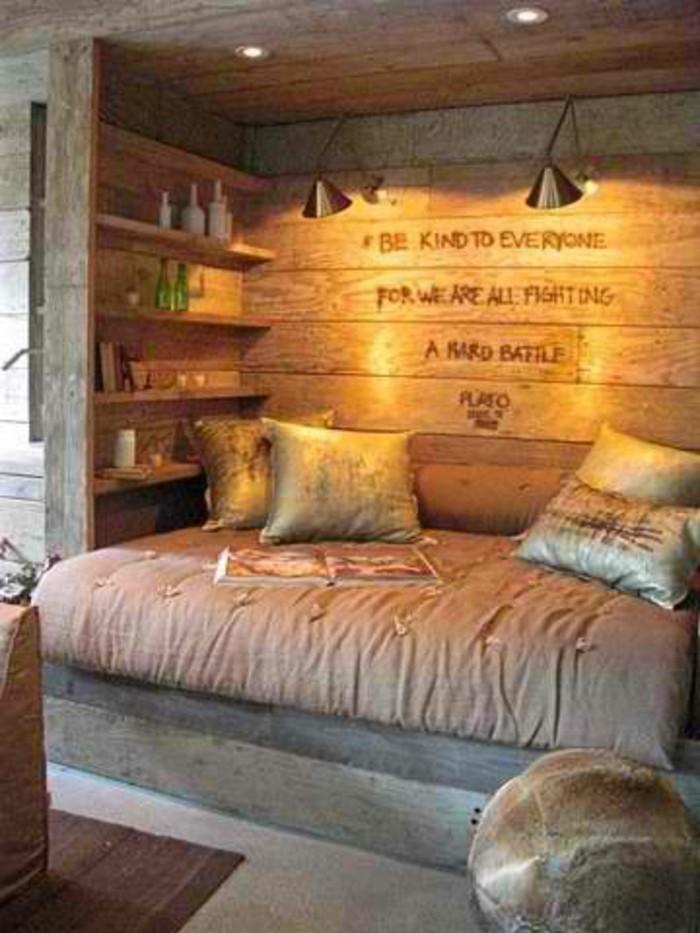 Schlafzimmer Holzwände Beige Braun
