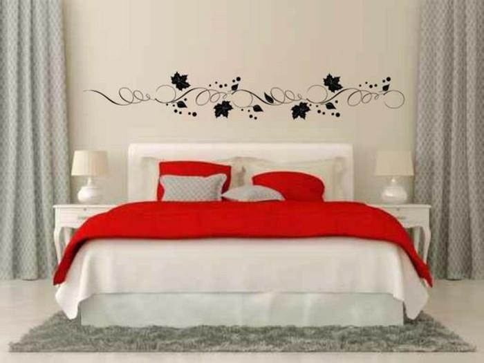 Pflanzen Weis Rotem Akzent Bett