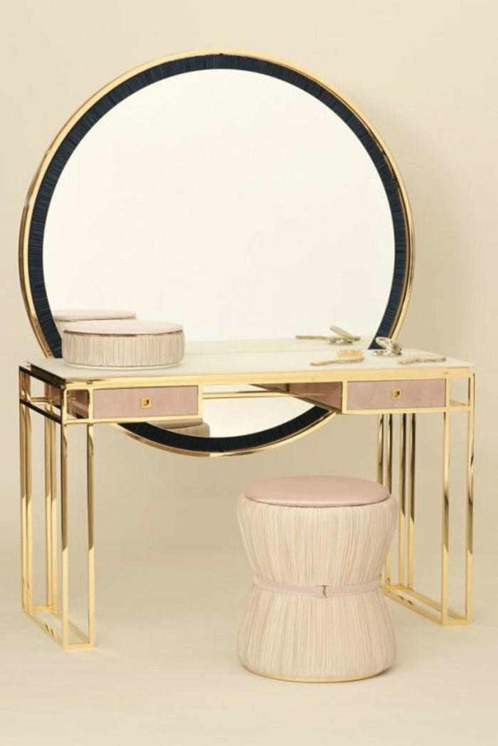 schminktisch-mit-hocker-runder-spiegel-rosa-schminktisch-beige-hocker