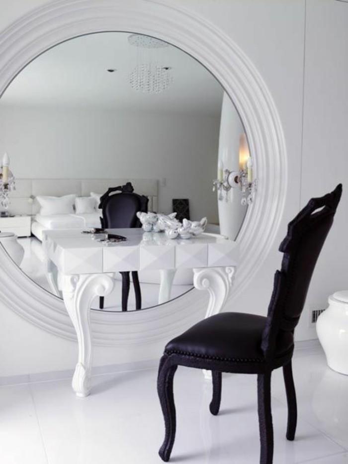 schminktisch-schminktische-schwarzer-stuhl-runder-spiegel-weiser-tisch