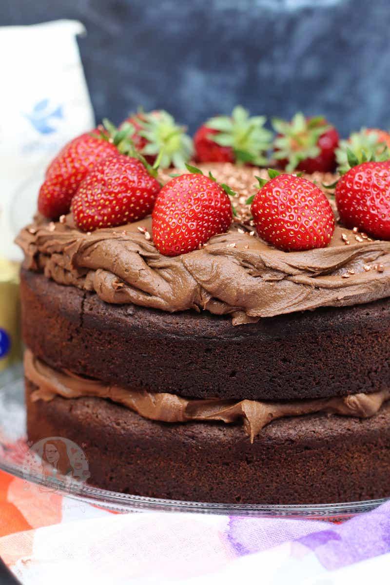 schneller glutenfreier kuchen rezept schokoladentorte mit erdbeeren