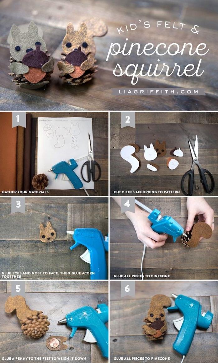 schritt für schritt anleitung diy eichhörnchen aus tannenzapfen und filz bastelvorlagen herbst zum ausdrucken kreative bastelideen für kinder