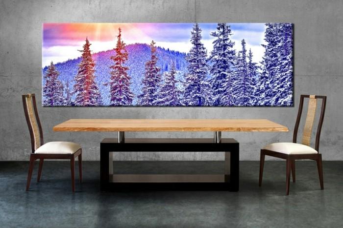 simpel-ausgerichtetes-esszimmer-leinwandbildxxl-holztisch-holzstuhl-winter-landschaft