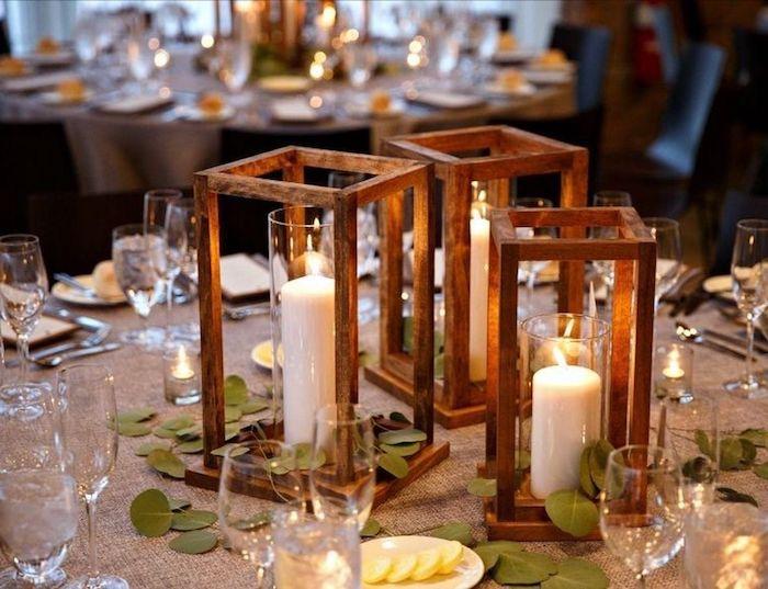 teelichter basteln mit holz und glas große weiße kerzen schöne tischdeko