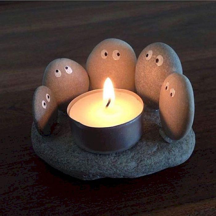 teelichthalter basteln aus stein klein mit augen kleben teelicht