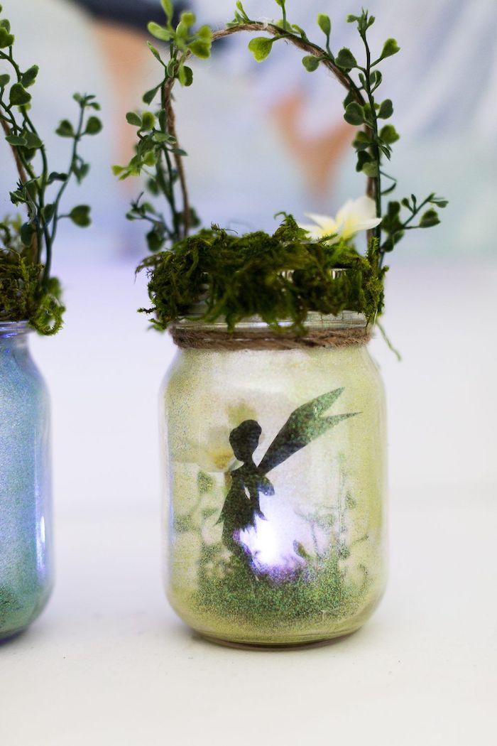 teelichthalter basteln kleines windlicht aus glas moos und pflanzen